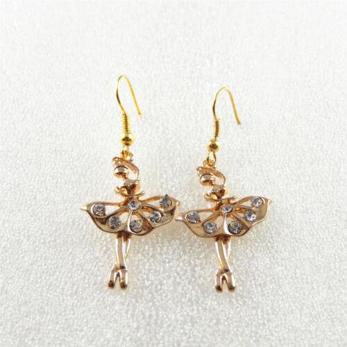 1 Paire Golden Tone Alliage Danseuse de Ballet Boucles d/'Oreilles Crochet d/'oreille fils Jewelry Findings