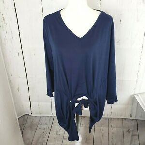 New-NY-Collection-Blue-Front-Tie-Tunic-Shirt-Top-3-4-Sleeve-Women-039-s-Plus-Size-2X
