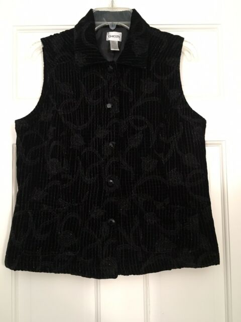 Chico's Size 1 Velvet Sequin Vest Black $89 MSRP Party Perfect