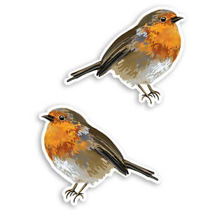 2-x-10cm-Cute-Red-Robin-Vinyl-Stickers-Bird-Wildlife-Garden-Fun-Sticker-30913