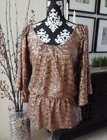 Boston Proper Matte Bronze Sequin Cold Shoulder Top - S (6/8) - $98 -