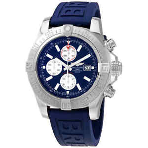 Breitling-Super-Avenger-II-Chronograph-Automatic-Blue-Dial-Men-039-s-Watch
