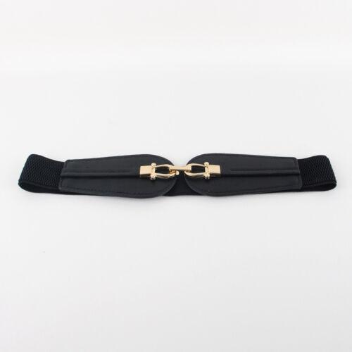 Damen Gold Doppelt Schnalle Elastische Gürtel Kunstleder Kleid Taillengürtel