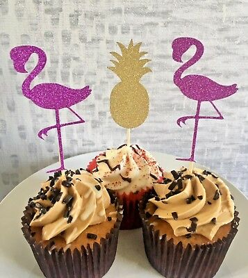 12 Glitter Flamingo Pineapple Cupcake Toppers Decorations Birthday Summer Ebay