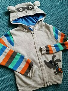 18-24 Mois Garçon Gris Tricoté Sweat à Capuche Pull Sweater Muscade-afficher Le Titre D'origine Beau Lustre
