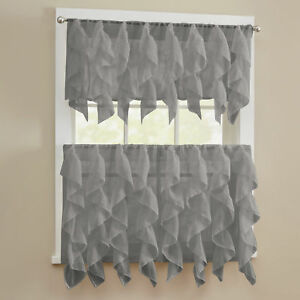 Sheer Voile Vertical Ruffle Window Kitchen Curtain Tiers or Valance Gray