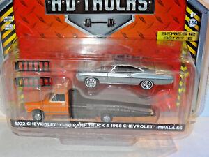 Greenlight-Schwerlast-1972-Chevy-C-30-Rampe-Lkw-amp-1968-Chevy-Impala-Ss