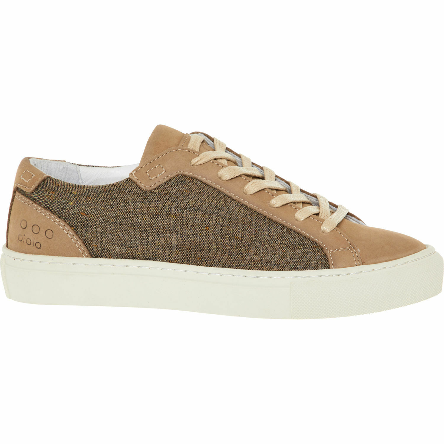New PIOLA ICA Lady Beige Brown Felted Wool & Leather Trainers shoes Sneakers UK5