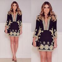 Women Black Printing Elegant Ladies Deep V Neck New Summer Party Slim Mini Dress