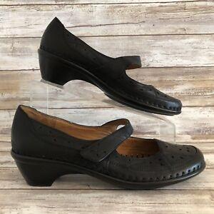 Easy-Spirit-Mary-Jane-Loafer-Womens-8M-Evellina-Black-Leather-Moc-Toe-Adjustable