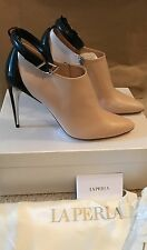 LA PERLA LEATHER BOOTIES WITH ANKLE STRAP SIZE EU 37 (US 7) NUDE BLACK $1029