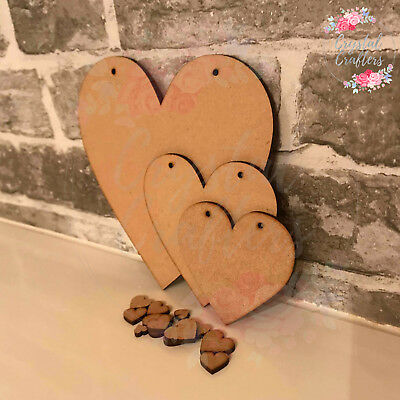 Wooden 3mm MDF Blank Laser Craft Shape Love Heart Embellishments Scrapbook Tags