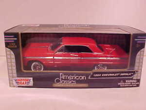 1964-Chevy-Impala-Coupe-Hard-Top-Die-cast-Car-1-24-by-Motormax-8-inch-Red