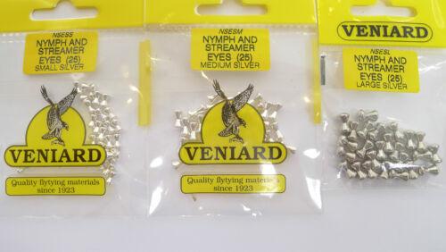 Streamer NYMPH EYES 25 Piece Veniard Silver Small Medium Large