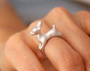 dorado-o-plateado-Ciervo-Bambi-Disney-Fawn-3D-Animal-Anillo-en-bolsa-Caja