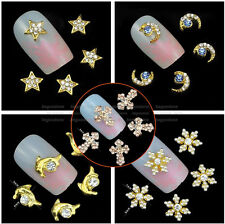 3D Glitter DIY Nail Tips Decoration Rhinestones Cute Alloy Nail Art Charms 10pcs