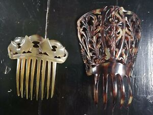 100% De Qualité 2 X Antique/19th Siècle? Faux écaille Hair Combs-afficher Le Titre D'origine Effet éVident