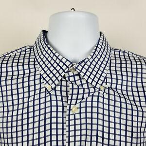 Peter Millar Mens White Blue Check Dress Button Shirt Size XL