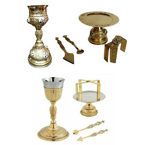 Holy-Communion-Orthodox-Church-Chalice-Set-5-Pieces-Paten-Lance-Complete