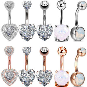Opal-CZ-Navel-Belly-Button-Ring-Surgical-Steel-Bar-Barbells-Body-Piercing-14G