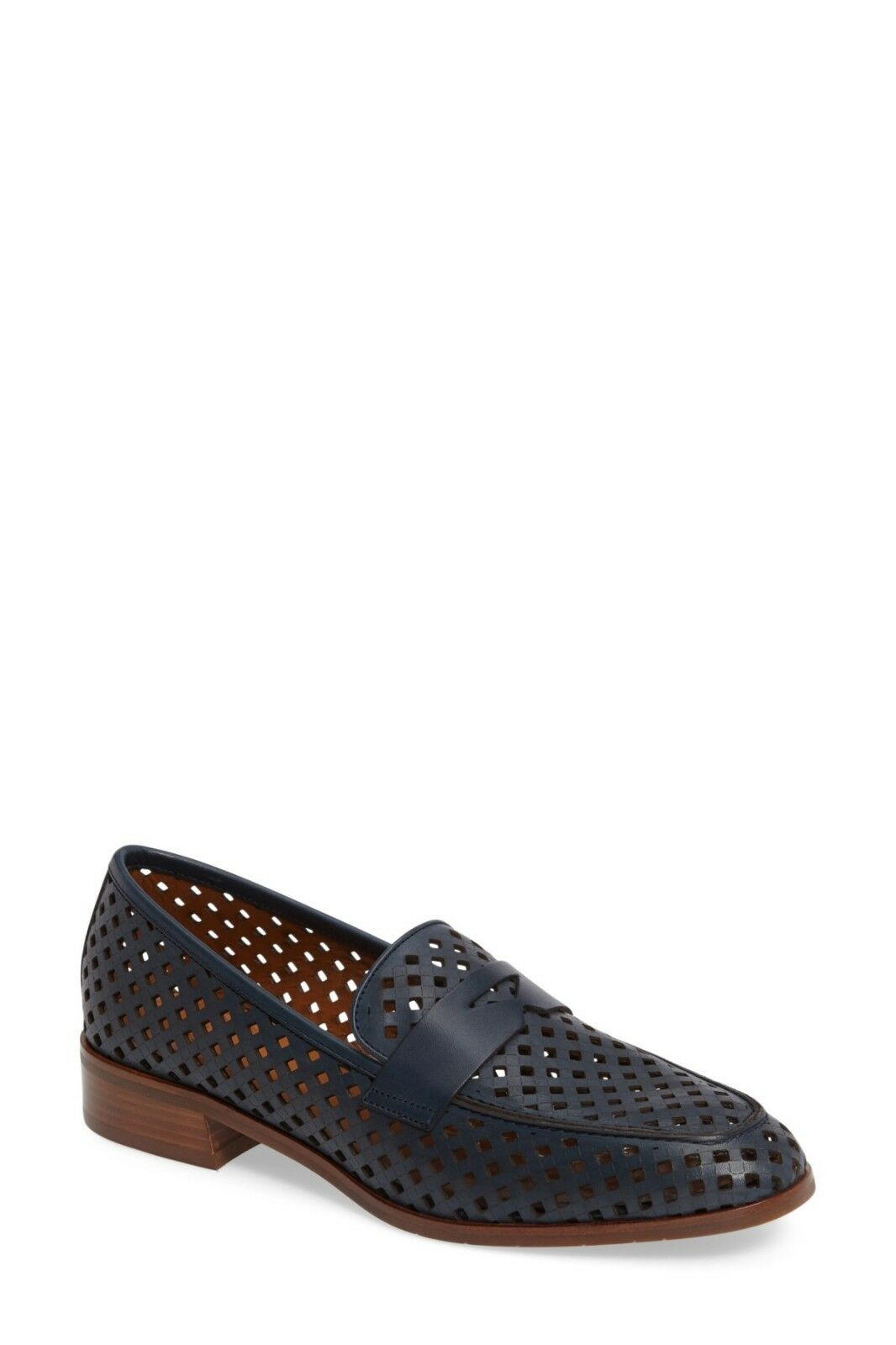 Aquatalia Sheryl Perforated shoes Navy bluee Sz 7 Loafer  New