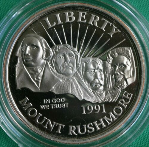 1991 S Mt Rushmore Proof Half Dollar Clad 50c US Coin In Mint Box w//COA