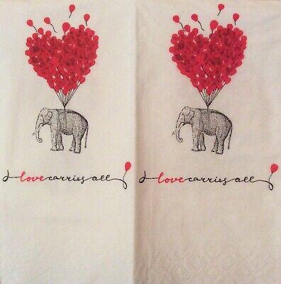 paper napkins decoupage x 2 wedding love carries all 21cm