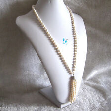 """27"""" 6-9mm White AA Freshwater Pearl Necklace Tassel A"""