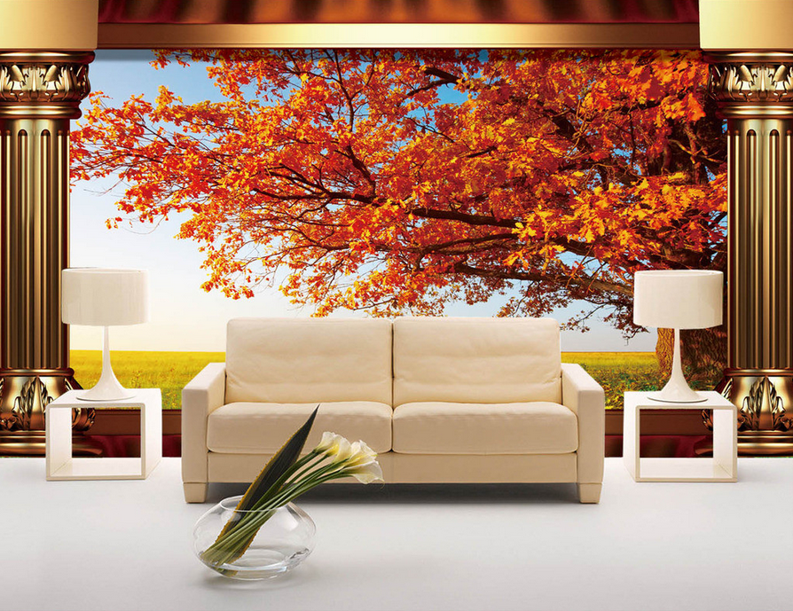 3D ROT Tree Lawn Sky 62 Wallpaper Mural Paper Wall Print Wallpaper Murals UK