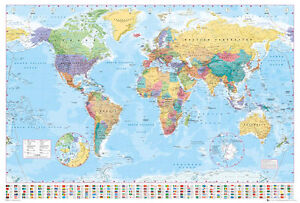 Political map of the world poster print world map with flags image is loading political map of the world poster print world gumiabroncs