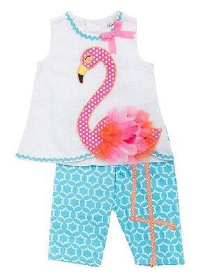Rare Editions Seersucker Top w// Flamingo Applique /& Geometric Shorts Set