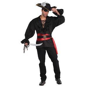 Buccaneer Mens Adult Black Pirate Cowboy Costume Pants-Std