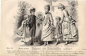 """40/ Gravure De Mode """" Journal Des Demoiselles """" 1876 Facile à Lubrifier"""