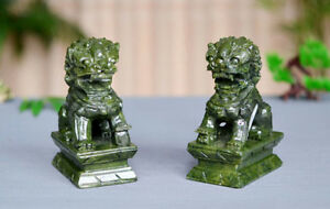 A-Pair-100-Natural-China-Green-Jade-Carved-Fengshui-Foo-Fu-Dog-Guard-Door-Lion