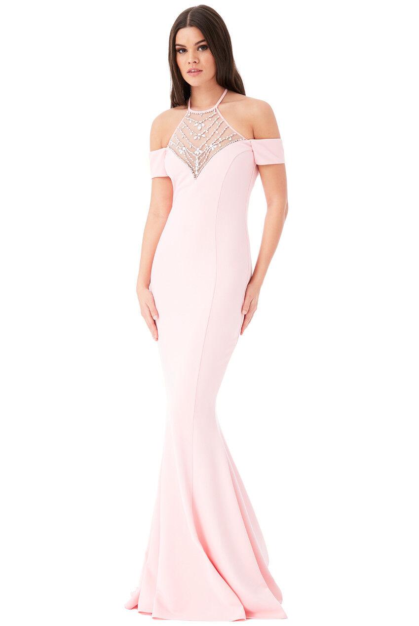 Goddiva Diamante Pearl Embellished Fishtail Maxi Evening Dress Prom Bridesmaid