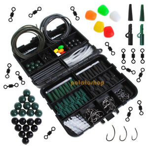 219-Carp-Fishing-Tackle-Job-Lot-Box-Hooks-Swivels-Safety-Clips-Tubing-Set-FCoA2