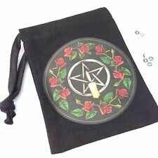 NEW CANDLE PENTAGRAM ROSES BLACK RUNE STONE BAG, POUCH, TAROT, WICCA, PAGAN GIFT