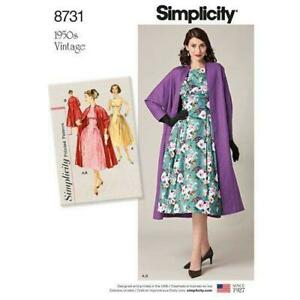 Simplicity-Sewing-Pattern-8731-Misses-039-Vintage-50s-Dress-and-Lined-Coat-14-22-R5
