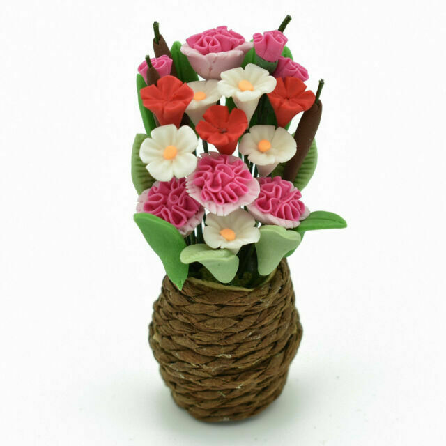 23*55mm Dollhouse Miniature Carnation Flower Clay Potted Plants Toy Decor