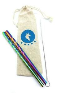 Two-5-Mini-Rainbow-Unicorn-Horn-Metal-Stainless-Steel-Straw-Reusable-w-Pouch