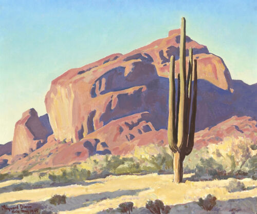 Red Rocks and Cactus by Maynard Dixon Giclee Canvas Print Repro