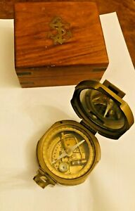 "Vintage Nautical 3/"" Square Heavy Brass Brunton Compass Steampunk"