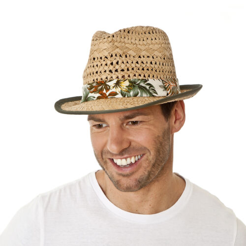i-Smalls Men/'s Paper Straw Trilby with Hawaiian Style Band