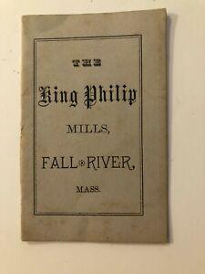 1882 Decription of King Philip Mills in Fall River, Massachusetts booklet