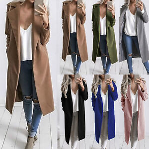 Women-Open-Front-Cardigan-Trench-Coat-Long-Sleeve-Duster-Jacket-Overcoat-Outwear