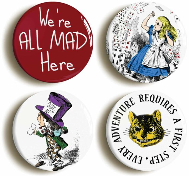 ALICE IN WONDERLAND BADGE BUTTON PIN SET (Size 1inch/25mm diameter) CHESHIRE CAT