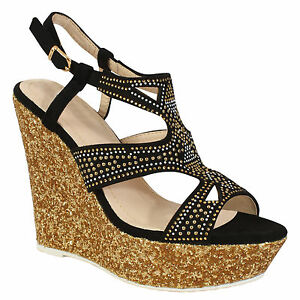 7afa4ae23bd3 Details about Women s Diamonted Ladies Sandals High Cork Heel Wedge Summer  Holiday Girl Shoes