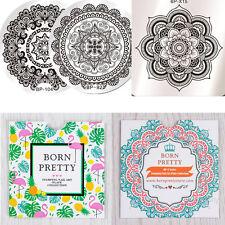3stk Harunouta Nagel Kunst Stamping Schablone Platte Nail Stencil Blumen Stil