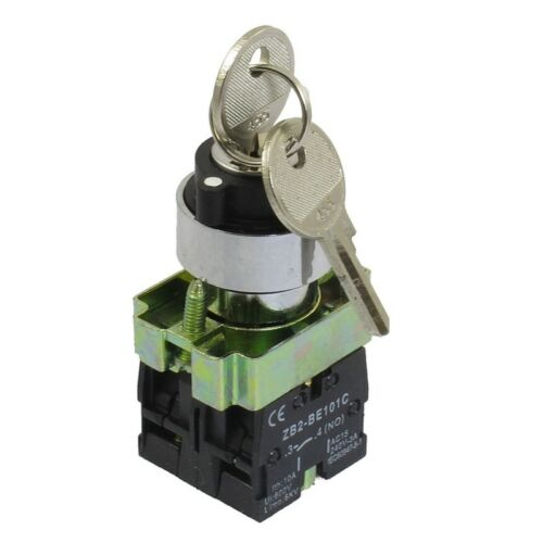 22mm Locking 2 NO Three 3-Position Keylock Selector Select Switch ZB2-BE101 W5E2