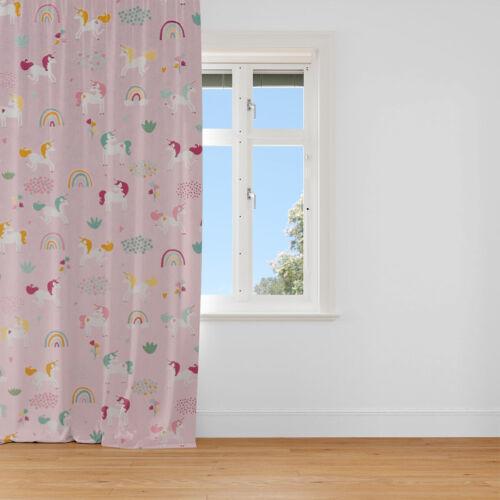 Vorhang Einhörner Regenbogen rosa pink 245cm oder Wunschlänge SCHÖNER LEBEN
